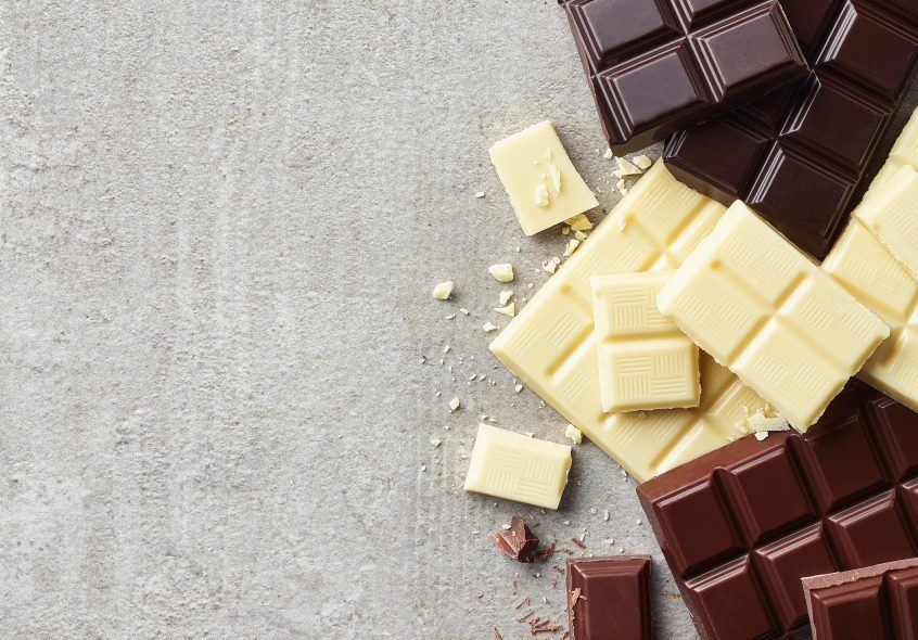 Difference between dark and white chocolate.