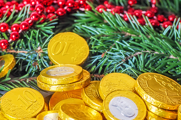 chocolate coin is a way to celebrate Christmas holiday